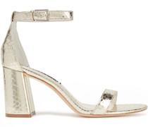 Sandalen aus Metallic-leder mit Schlangeneffekt