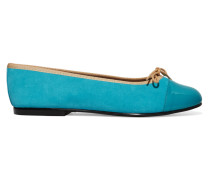 Patent Leather-paneled Suede Ballet Flats Türkis