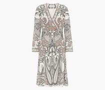 Bedrucktes Kleid aus Crêpe De Chine aus Seide mit Wickeleffekt