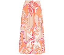 Gathered Printed Jersey Midi Skirt
