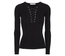 Lace-up ribbed-knit top