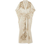 Woman Chantilly Lace-trimmed Silk-satin Robe Beige