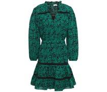 Salama Lace-trimmed Cotton-blend Mousseline Mini Dress