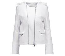 Quilted cotton-jersey biker jacket