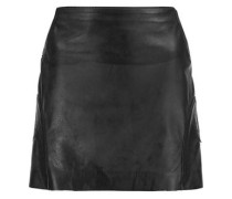 Laser-cut textured-leather mini skirt