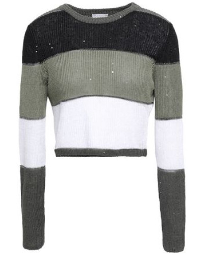 Striped Linen And Silk-blend Sweater Grey Green