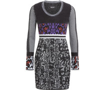 Paneled Intarsia Wool-blend Mini Dress Schwarz