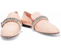Chain-trimmed Patent-leather Slippers