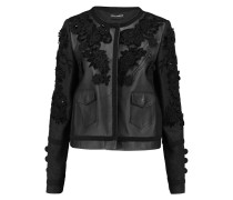 Appliquéd Embroidered Matelassé And Leather Jacket Schwarz