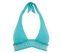 Neckholder-bikini-oberteil aus Stretch-piqué mit Raffung