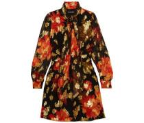 Fabienne pussy-bow silk-blend jacquard mini dress