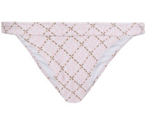 Tybee Island Checked Textured Low-rise Bikini Briefs