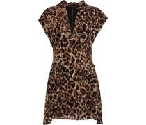 Braden draped leopard-print devoré-velvet mini dress