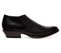 Tequila Croc-effect Leather Ankle Boots Schwarz