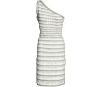 One-shoulder metallic bandage-jacquard dress