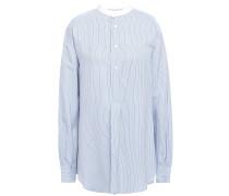 Woman Poitier Pinstriped Broadcloth Shirt Light Blue