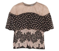 Lace-paneled printed silk-chiffon top