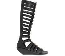 Leather Wedge Sandals Schwarz
