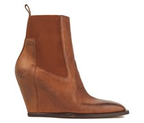 Burnished Leather Wedge Ankle Boots