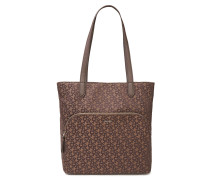 Faux Leather-trimmed Logo-jacquard Tote