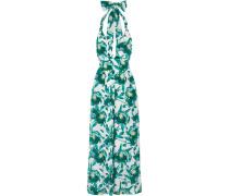 Shelby Floral-print Silk Jumpsuit Smaragdgrün