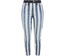 Woman The Stiletto Cropped Striped High-rise Skinny Jeans Mid Denim