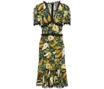 Kleid aus Stretch-crêpe mit Print und Spitzenbesatz
