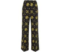 Hullinie Floral-print Georgette Wide-leg Pants