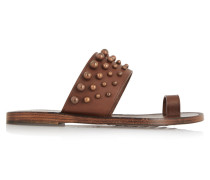 Zeta Studded Leather Sandals Braun