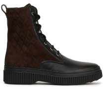 Quilted Suede And Leather Ankle Boots