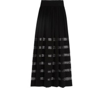 Lace-paneled silk-georgette maxi skirt