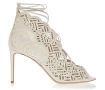 Laser-cut Leather Sandals Weiß