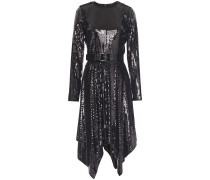Asymmetric Belted Sequined Jersey Dress