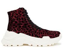 Sneakers aus Beflocktem Satin mit Leopardenprint