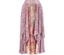 Draped Printed Crinkled-silk Midi Skirt Puder