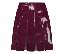 Pleated Patent-faux Leather Mini Skirt Plaume