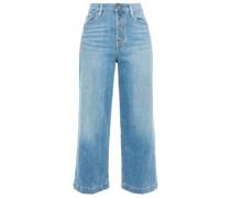 Ali Wide Crop Faded High-rise Wide-leg Jeans