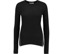 Zip-detailed Ribbed-knit Sweater Schwarz