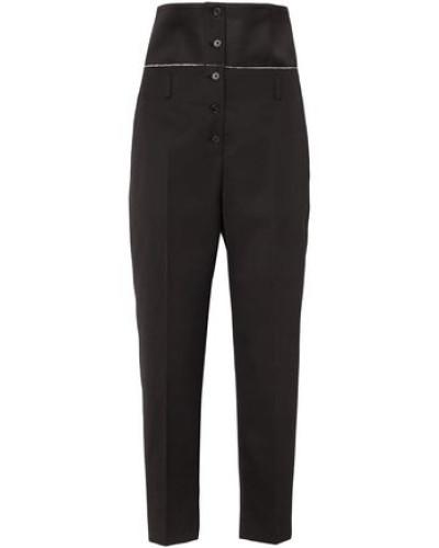 Satin-paneled Wool-twill Slim-leg Pants Black
