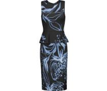 Printed silk-blend peplum dress