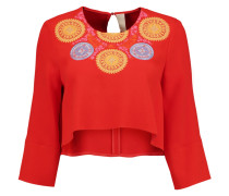 Athena Cropped Embroidered Crepe Top Rot