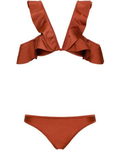 Tali Cold-shoulder Ruffled Bikini Copper Size 0