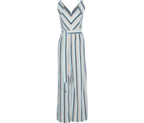 Woman Knotted Striped Seersucker Jumpsuit Sky Blue