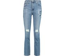 + Alexa Chung Sabine Distressed Mid-rise Straight-leg Jeans Heller Denim