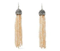 Silberfarbene Ohrringe mit Zierperlen und Kristallen