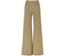 Luc Houndstooth Tweed Wide-leg Pants