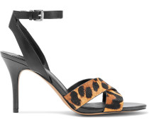 Ivy Leopard-print Calf Hair And Leather Sandals