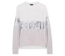 Paneled metallic-coated and printed cable-knit sweater