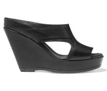 Cutout Leather Wedge Sandals Schwarz