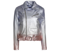 Metallic dégradé leather biker jacket